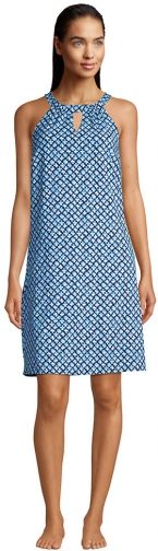 Lands' End Women's Sleeveless High Neck Keyhole With UV Protection Swim Cover-up Dress - Lands' End - Blue - XL Swimwear