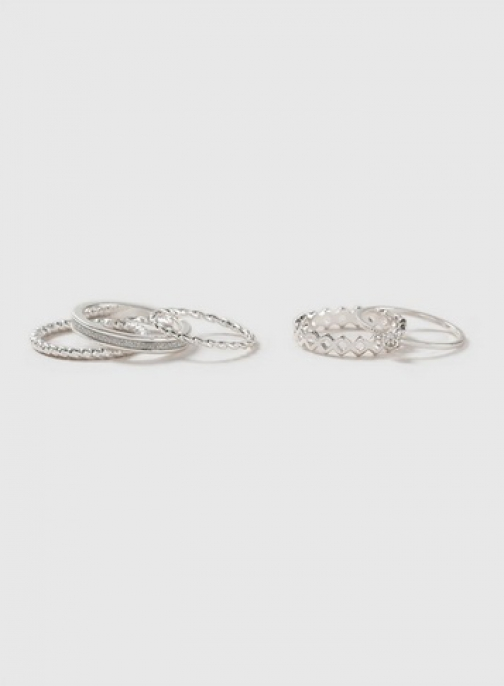 Dorothy Perkins Silver Glitter Stack Pack Ring