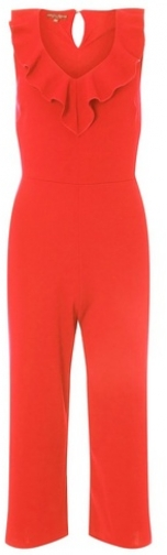Dorothy Perkins Womens Red Ruffle Culotte V-Neck - Red, Red Jumpsuit