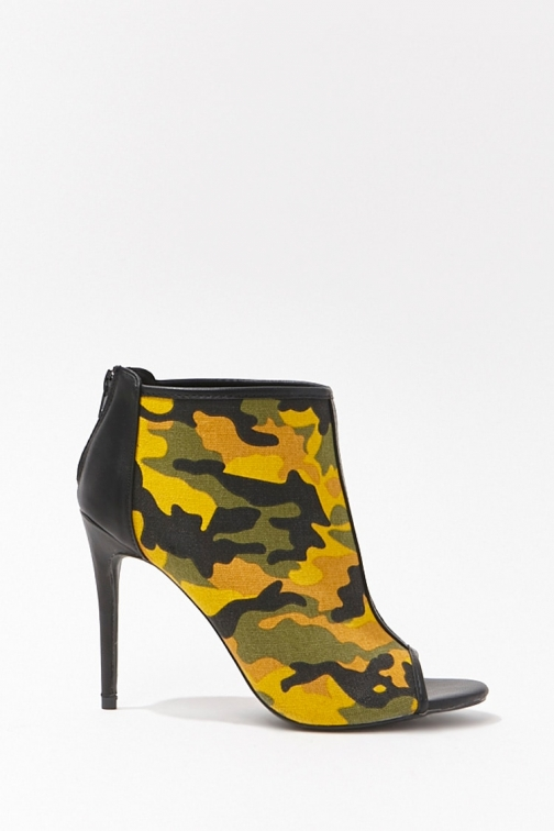 Forever21 Forever 21 Camo Open-Toe Stiletto Booties , Yellow/multi Boot