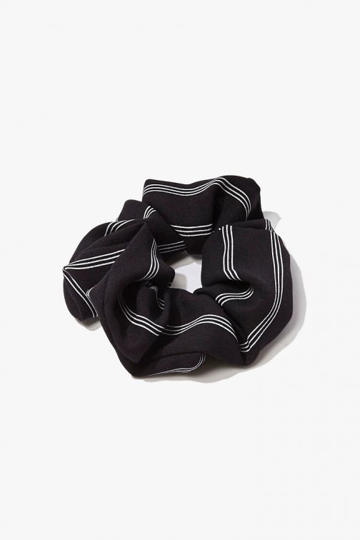 Forever21 Forever 21 Pinstriped Hair Scrunchie , Black/white Headwear