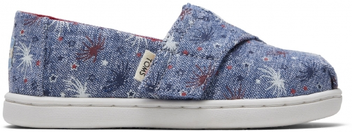 Toms Glow The Dark Fireworks Canvas Tiny TOMS Classics Slip-On Shoes