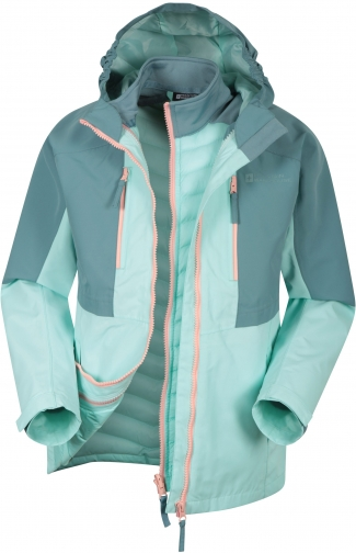 Mountain Warehouse Ravine Extreme Kids 3 1 Waterproof - Teal Jacket