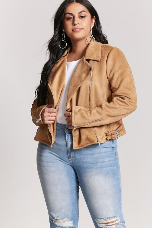 Forever21 Plus Forever 21 Plus Size Faux Suede Moto , Camel Jacket