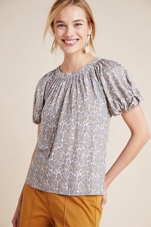 Maeve Linen Puff-Sleeved Top Shirt