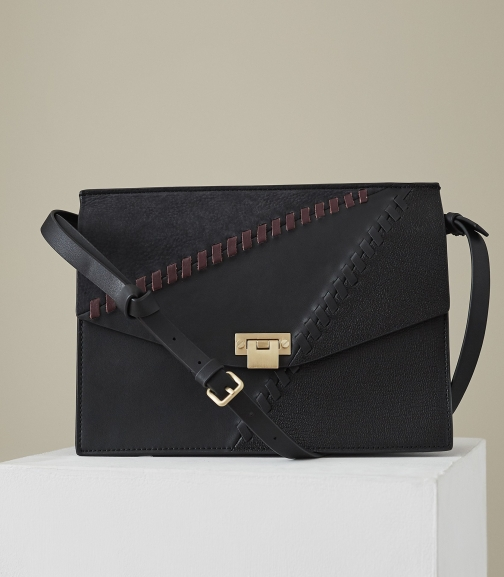 Reiss Conway Whipstitch - Leather Lock Closure Black, Womens Shoulder Bag