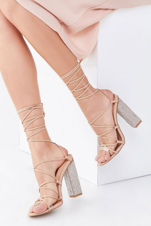 Forever21 Forever 21 Rhinestone Lace-Up Block Heels , Nude Shoes
