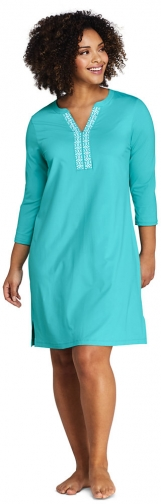Lands' End Women's Plus Size V-neck 3/4 Sleeve UV Protection Swim Cover-up Dress Embroidered - Lands' End - Blue - 1X Swimwear