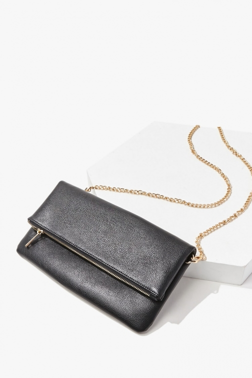 Forever21 Forever 21 Faux Leather Curb Chain , Black Clutch