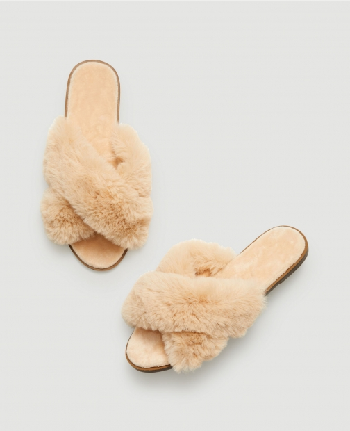Ann Taylor Factory Faux Fur Indoor & Outdoor Slide Slippers