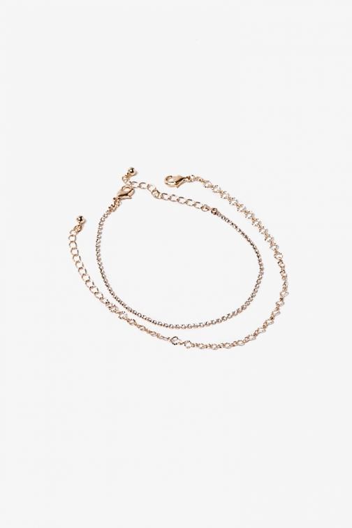 Forever21 Forever 21 Box Chain Set , Gold/clear Anklet