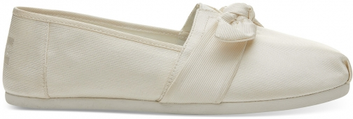 Toms White Grosgrain Bow Women's Classics Slip-On Shoes