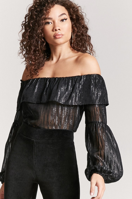 Love21 Metallic Stripe Off-the-Shoulder At Forever 21 , Black Top