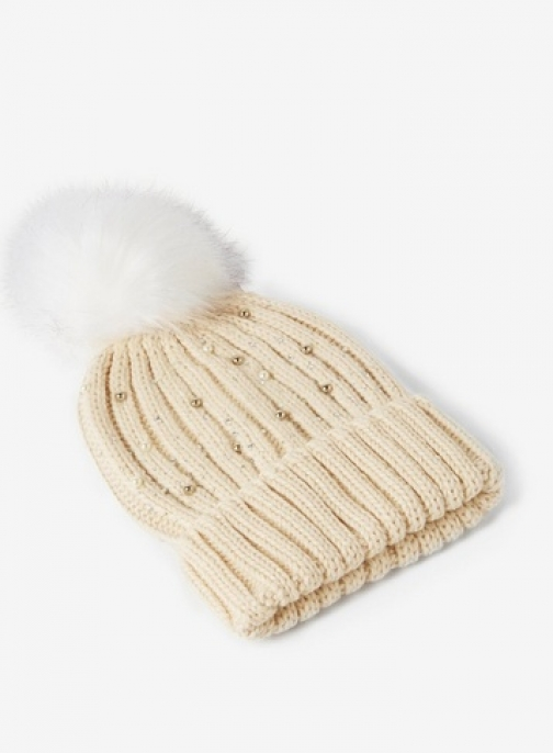 Dorothy Perkins Womens Cream Pearl Embellished Pom Pom - Cream, Cream Hat