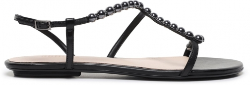 Schutz Shoes Janda Flat Sandal - 5 Black Leather Sandals