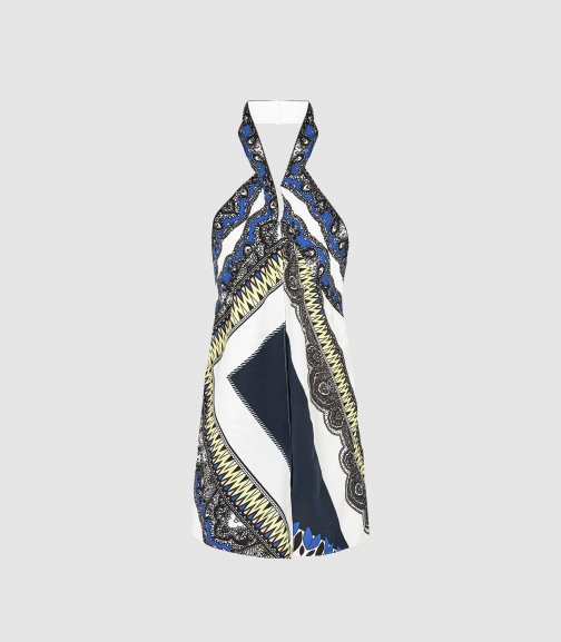 Reiss Joanna - -print Halterneck Top Blue, Womens, Size 6 Scarf