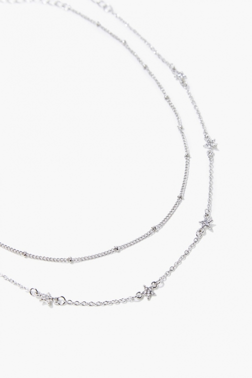 Forever21 Forever 21 Star Charm Necklace Set , Silver/clear Jewellery
