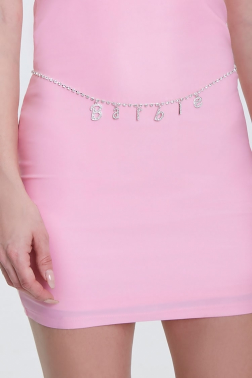 Forever21 Forever 21 Rhinestone Barbie™ Belly Chain , Silver/clear Body Chain
