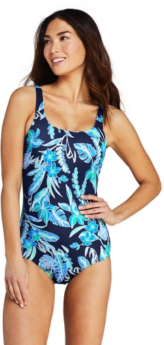 Lands' End Women's Chlorine Resistant Tugless One Piece Soft Cup - Lands' End - Blue - 2 Swimsuit