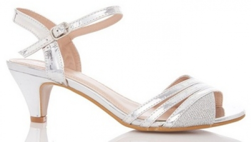 Quiz Silver Metallic Heel Sandals