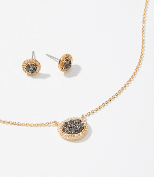 Loft Pave Stone Earring & Necklace Set Jewellery