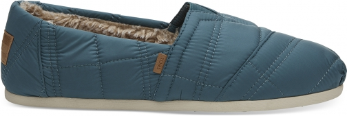 Toms Stellar Blue Quilted Nylon Men's Classics Slip-On Shoes