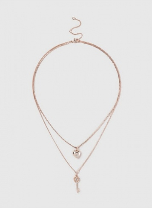 Dorothy Perkins Rose Gold Heart And Key Two Necklace