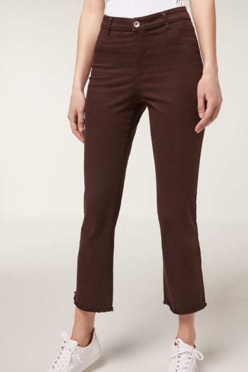 Calzedonia Flared Woman Brown Size S Cropped Jeans