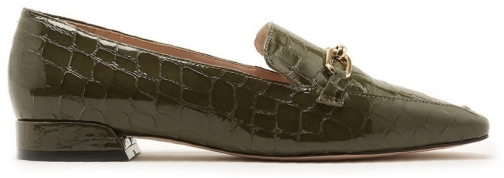 Schutz Shoes Marluza Flat - 5 Military Green Crocodile Embossed Patent Leather Shoes
