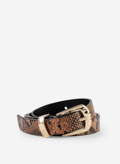 Dorothy Perkins Brown Snake Print Hammered Square Buckle Belt