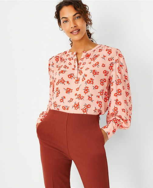 Ann Taylor Floral Mixed Media Puff Sleeve Button Blouse
