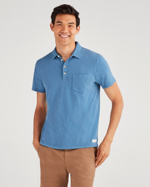 7 For All Mankind Men's Boxer 4 Button Steel Blue Polo
