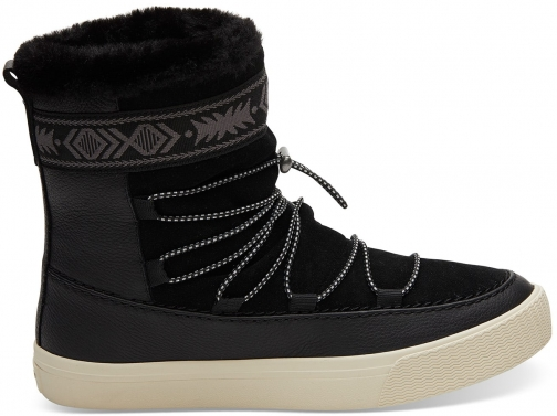 Toms Black Leather Women's Alpine Boot