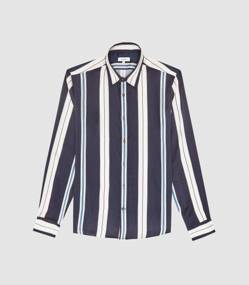 Reiss Fontaine - Striped Navy, Mens, Size XS Shirt