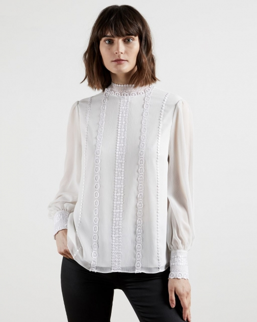 Ted Baker Lace Trimmed Top With Stand Collar