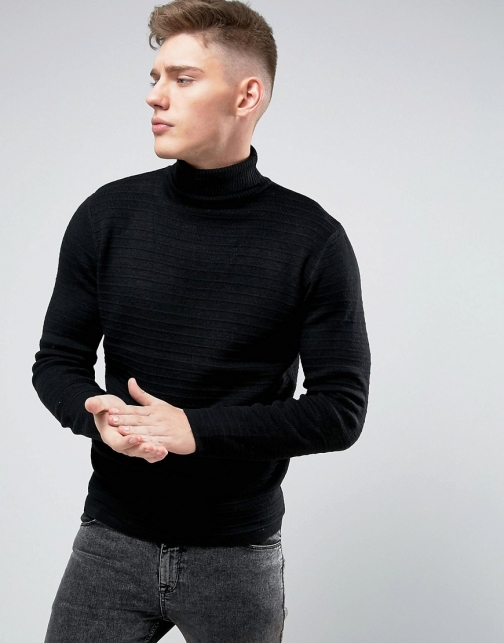 D-struct Roll Neck Textured Stripe Jumper