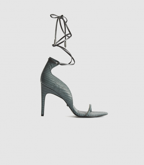 Reiss Coco - Leather Strappy Wrap Grey, Womens, Size 4 Sandals