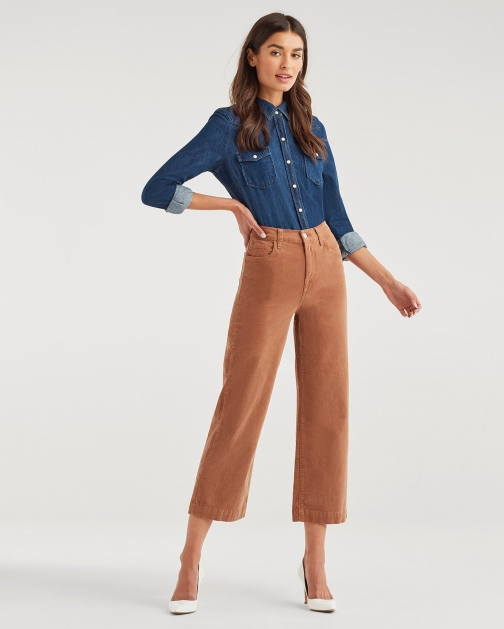 7 For All Mankind Women's Cropped Alexa Vintage Cord Penny Trouser
