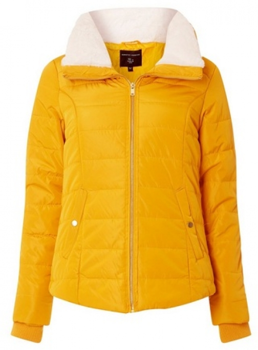 Dorothy Perkins Yellow Faux Fur Padded Collar