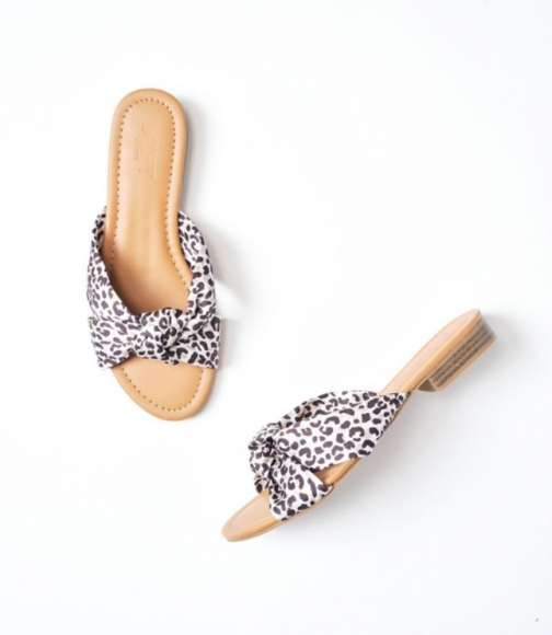 Loft Leopard Print Knotted Slide Sandals