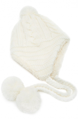 Forever21 Forever 21 Cable Knit Pom Pom Earflap Cream Hat