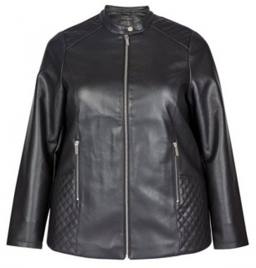 Dorothy Perkins Dp Curve Black Faux Leather Collarless Jacket