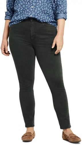 Lands' End Women's Plus Size High Rise Straight Leg Ankle Crop - Color - Lands' End - Green - 16W Jeans