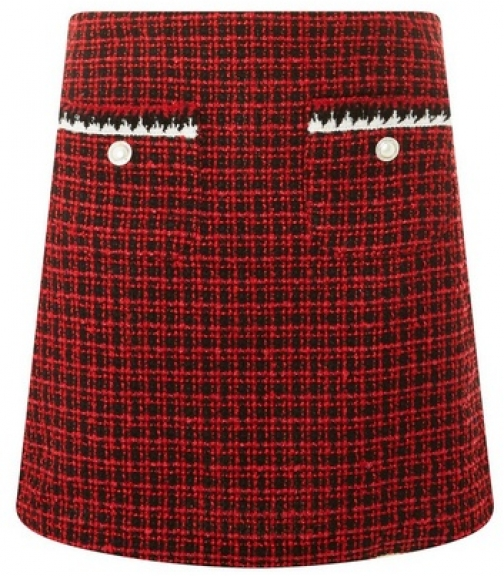 Dorothy Perkins Womens Red Boucle Pocket Trim - Red, Red Mini Skirt