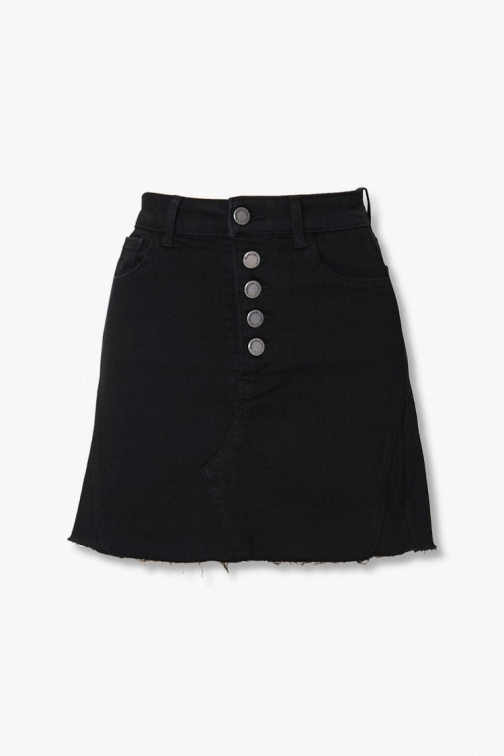 Forever21 Forever 21 Button-Fly Frayed , Black Denim Skirt