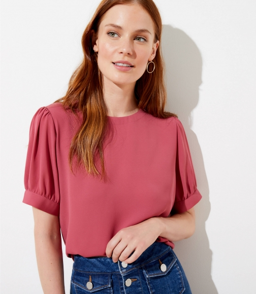 Loft Puff Sleeve Button Back Top Blouse