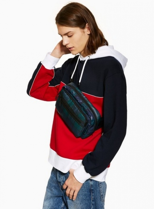 Topman Mens Red And Navy Panel , Red Hoodie
