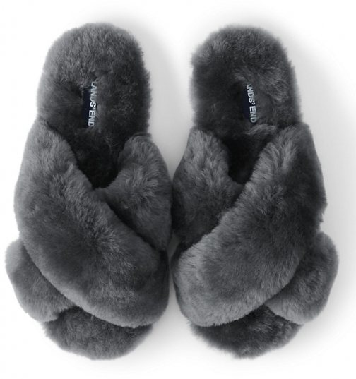 Lands' End Women's Shearling Open Toe House - Lands' End - Gray - 6 Slippers