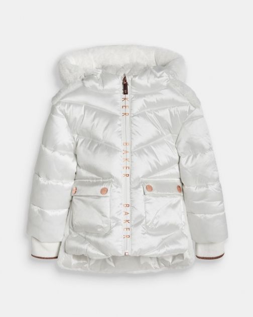 Ted Baker Padded Coat With Faux Fur Hood Jacket