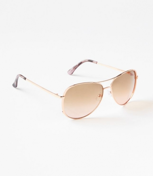 Loft Metallic Trim Aviator Sunglasses